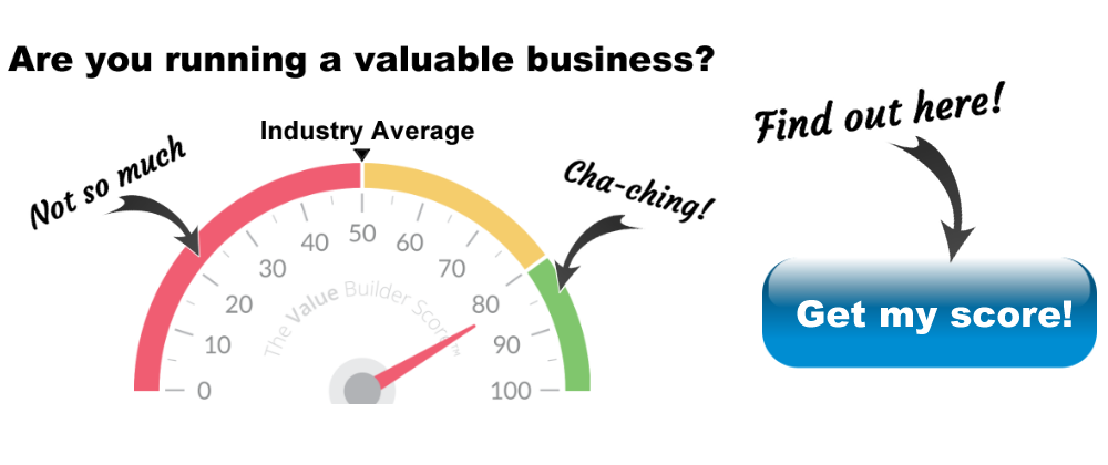 Gauge showing how business value increases based on score and a button to find out the score for your business
