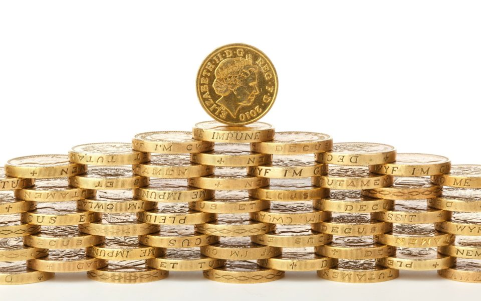 A stack of £1 coins balanced in a pyramid